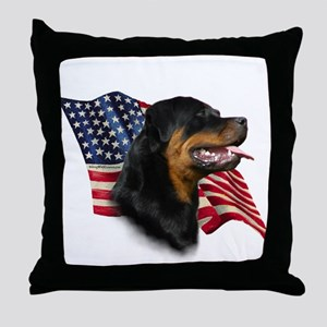 Rottweiler Flag Throw Pillow