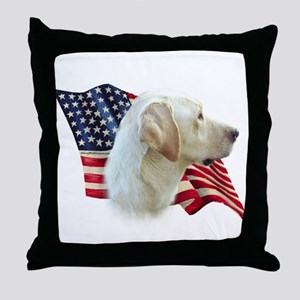 Yellow Lab Flag Throw Pillow