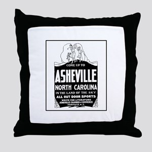 Asheville NC - Vintage Ad Throw Pillow