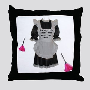 sissy maid Throw Pillow