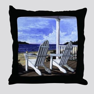 Morning Coffee and Adirondack Chairs Throw Pillow