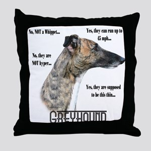 Greyhound FAQ Throw Pillow