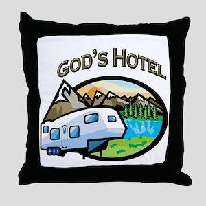 God's Hotel Throw Pillow