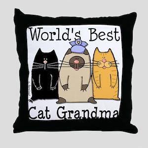 World's Best Cat Grandma Throw Pillow