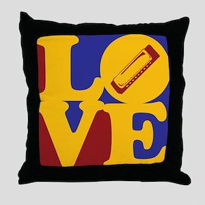 Harmonica Love Throw Pillow