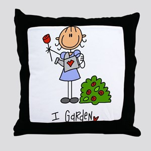I Garden Stick Figure Throw Pillow