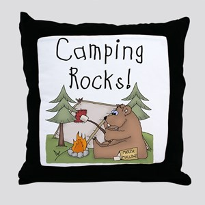 Bear Camping Rocks Throw Pillow