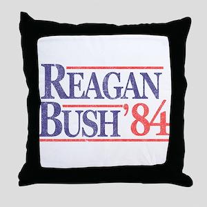 Reagan Bush '84 Throw Pillow