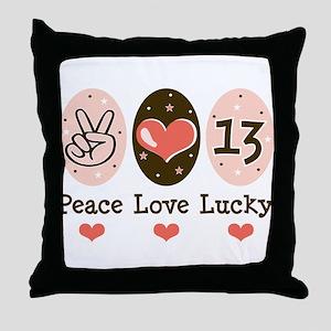 Peace Love Lucky 13 Throw Pillow