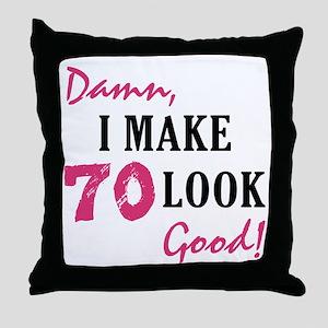 Hot 70th Birthday Throw Pillow