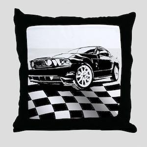 2011 Mustang Flag Throw Pillow