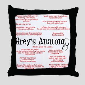 Grey's Anatomy Quotes Throw Pillow