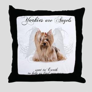 Angel Yorkie Throw Pillow