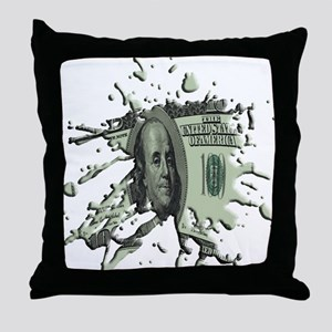 100 Dollar Blot Throw Pillow