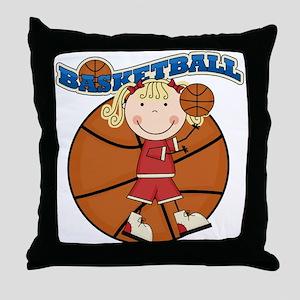 Blond Girl Basketball Throw Pillow