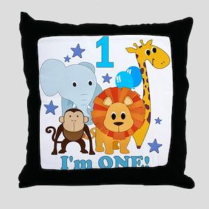 First Birthday Jungle Throw Pillow
