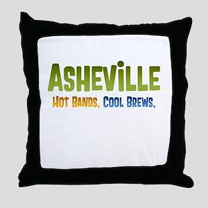Asheville. Hot bands. Throw Pillow