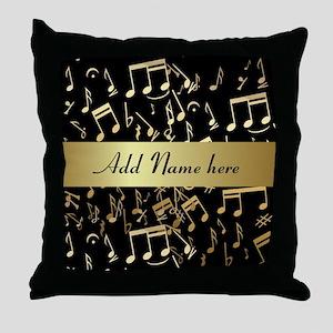 designer gold Musical notes Throw Pillow