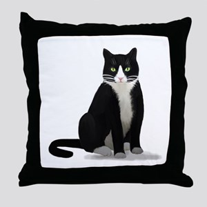 Black and White Tuxedo Cat Throw Pillow