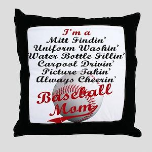 Baseball_Mom Throw Pillow