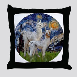 Starry Night with two Baby Llamas Throw Pillow