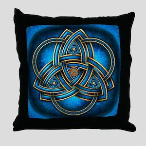 Blue Celtic Triquetra Throw Pillow