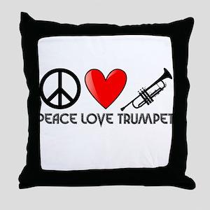 Peace, Love, Trumpet Throw Pillow