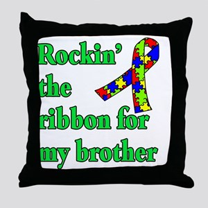 Autism Ribbon for My Brother Throw Pillow