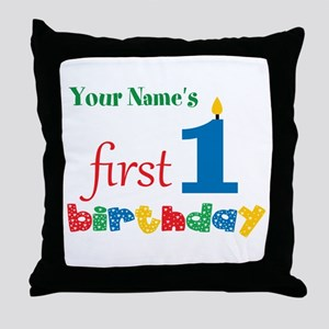 First Birthday - Personalized Throw Pillow