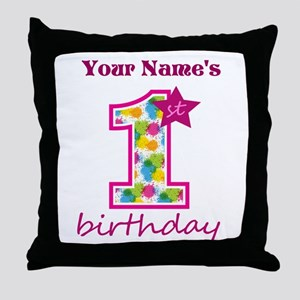1st Birthday Splat - Personalized Throw Pillow