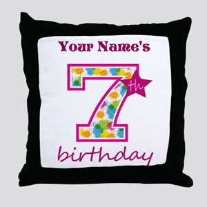7th Birthday Splat - Personalized Throw Pillow