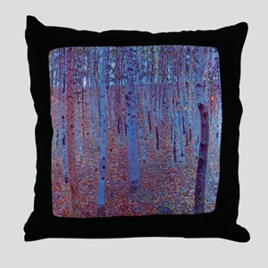 beech forest klimt Throw Pillow