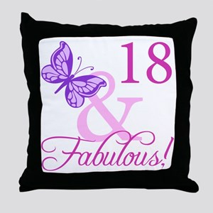 Fabulous 18th Birthday For Girls Throw Pillow