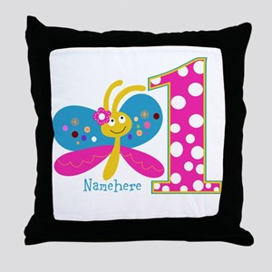 Butterfly First Birthday Throw Pillow