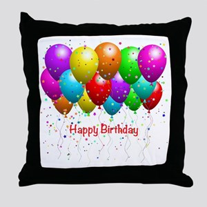 Happy Birthday Balloons Throw Pillow