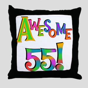 Awesome 55 Birthday Throw Pillow