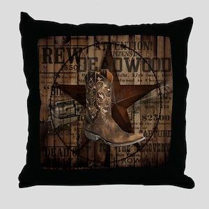 western cowboy Throw Pillow