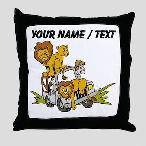 Custom African Lion Safari Throw Pillow