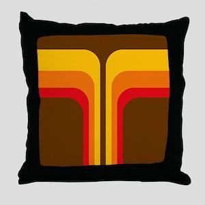 Retro Geometric Brown Throw Pillow