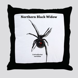 Northern Black Widow with text Throw Pillow