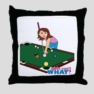 Girl Playing Billiards Throw Pillow