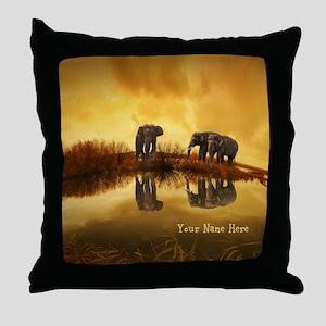 Elephant Custom Name Throw Pillow