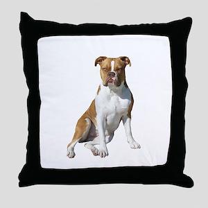 Am Bulldog 2 (Brn-W) Throw Pillow