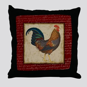 Red Rooster vintage Throw Pillow