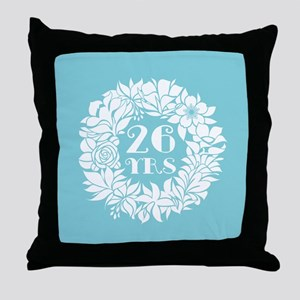 26th Anniversary Wreath Throw Pillow