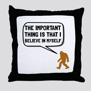 Bigfoot Believe In Myself Throw Pillow