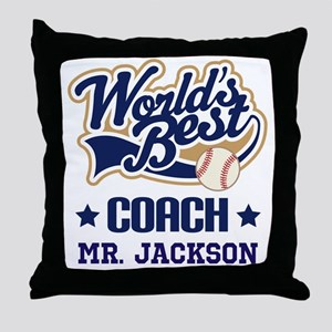 Personalized Baseball Coach Gift Throw Pillow