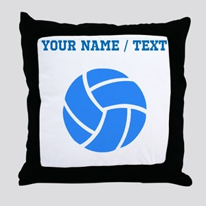 Custom Blue Volleyball Throw Pillow