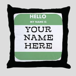 Custom Green Name Tag Throw Pillow