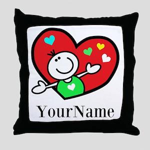 Happy Heart (p) Throw Pillow